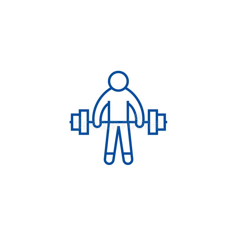 Strong athlete, lifting weights line icon concept. Strong athlete, lifting weights flat vector symbol, sign, outline. Strong athlete, lifting weights line stock illustration