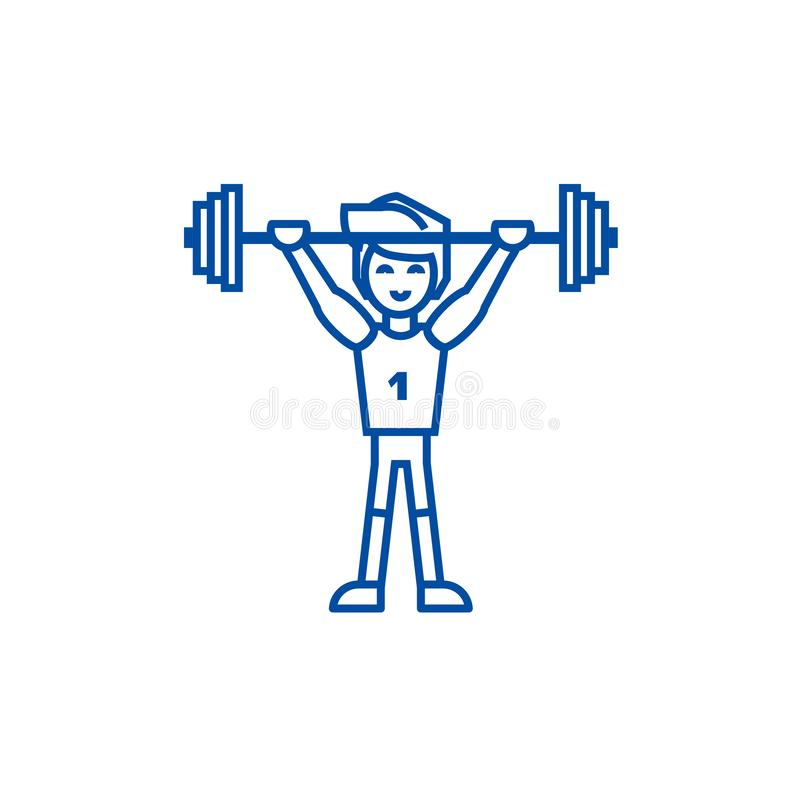 Strong athlete with weights line icon concept. Strong athlete with weights flat vector symbol, sign, outline. Strong athlete with weights  line concept icon stock illustration