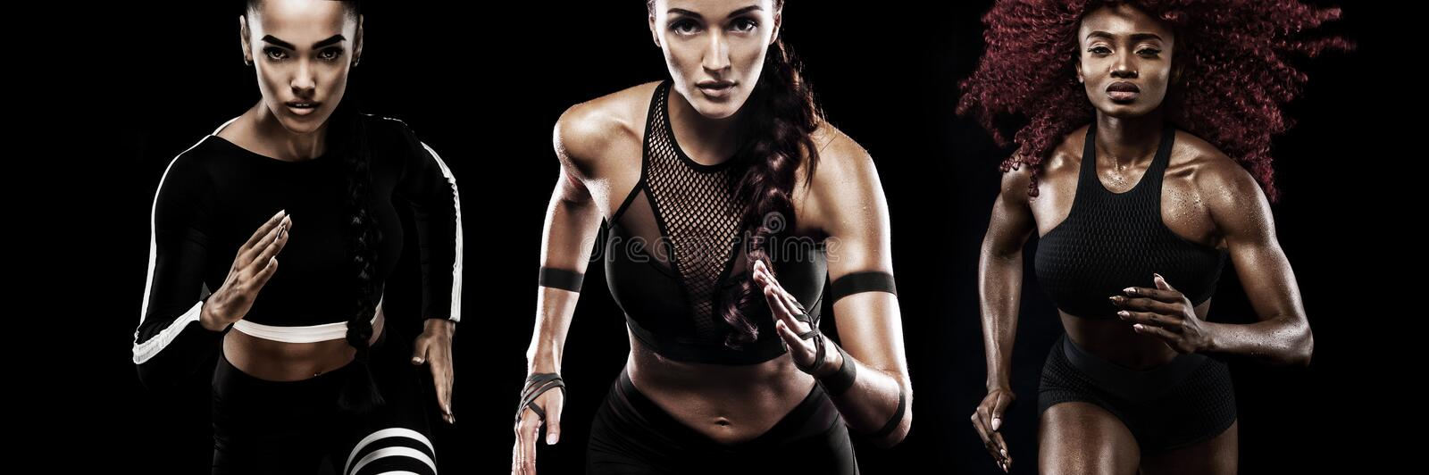 A strong athletic, women sprinter, running on black background wearing in the sportswear, fitness and sport motivation stock photo