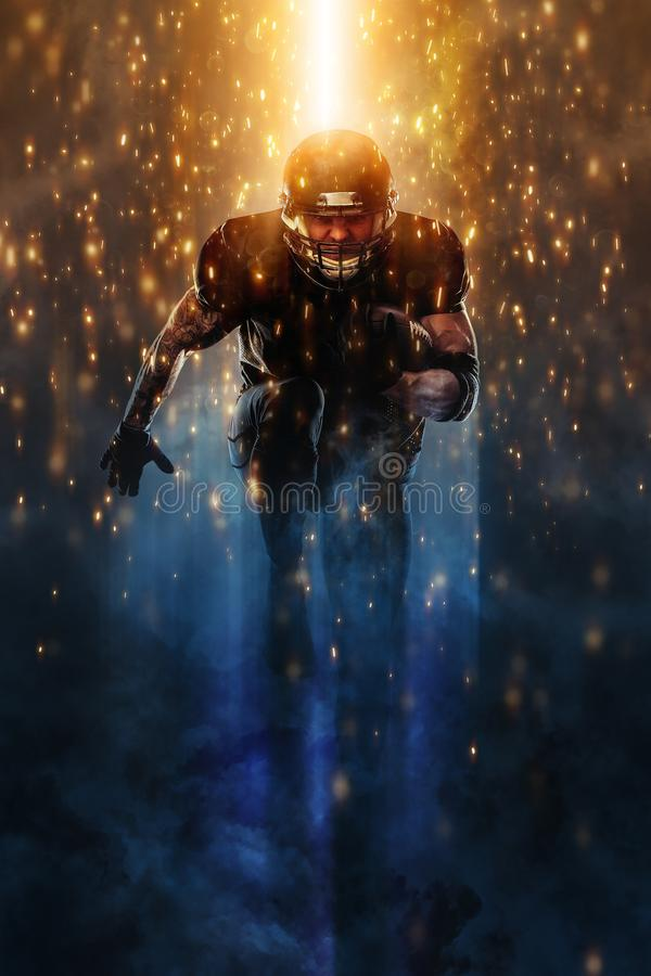 Strong athletic man. American football sportsman player running. Sport moution concept. American Football player isolated on black background stock images