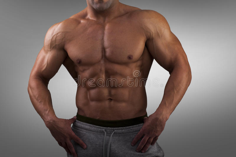 Strong Athletic Man Fitness Mode stock photography