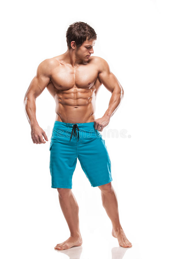 Strong Athletic Man Fitness Model Torso showing big muscles stock photos