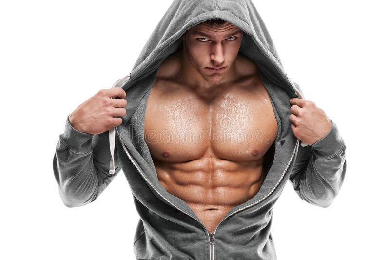 Strong Athletic Man Fitness Model Torso showing six pack abs. is stock image