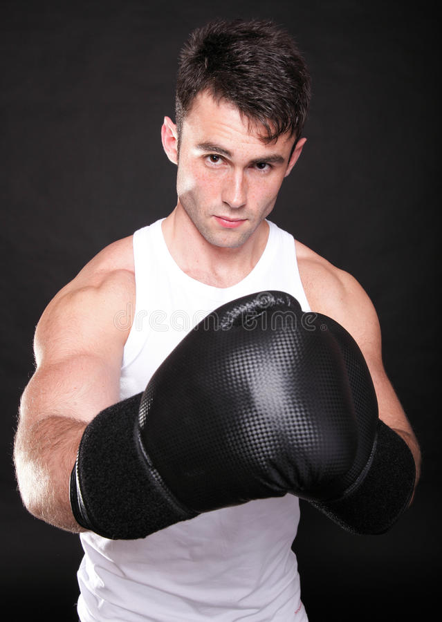 Strong Athletic Muscle Man Sports Guy Showing His Muscles Royalty Free Stock Photos