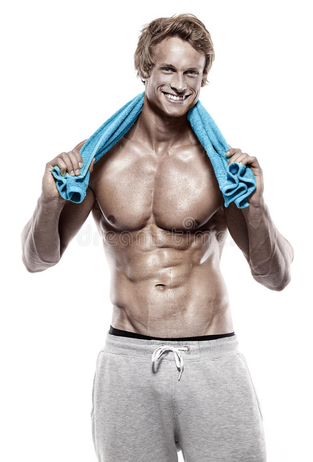 Strong Athletic muscle Man with towel stock image