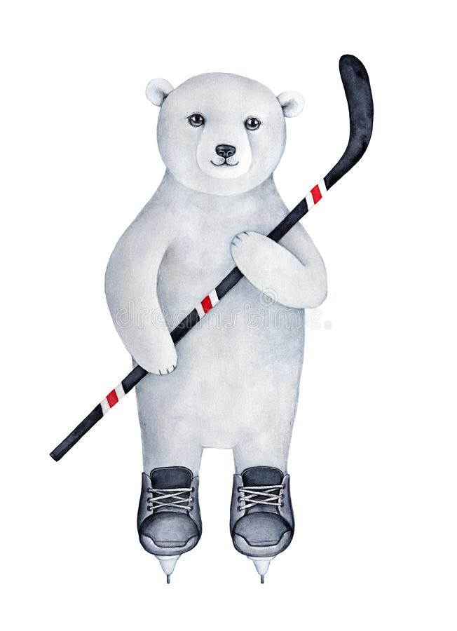 Strong athletic polar bear cub dressed in black ice skating uniform. Keeping in hand striped hockey stick. Handmade watercolour drawing on white background vector illustration