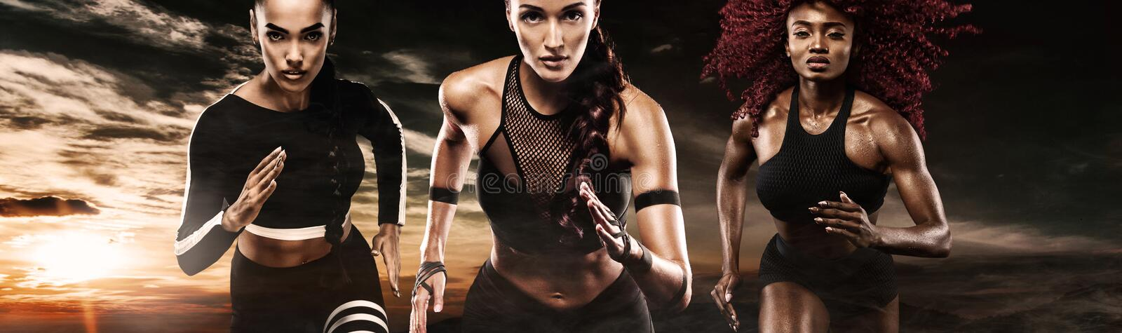 A strong athletic, women sprinter, running on dark background wearing in the sportswear, fitness and sport motivation stock photos