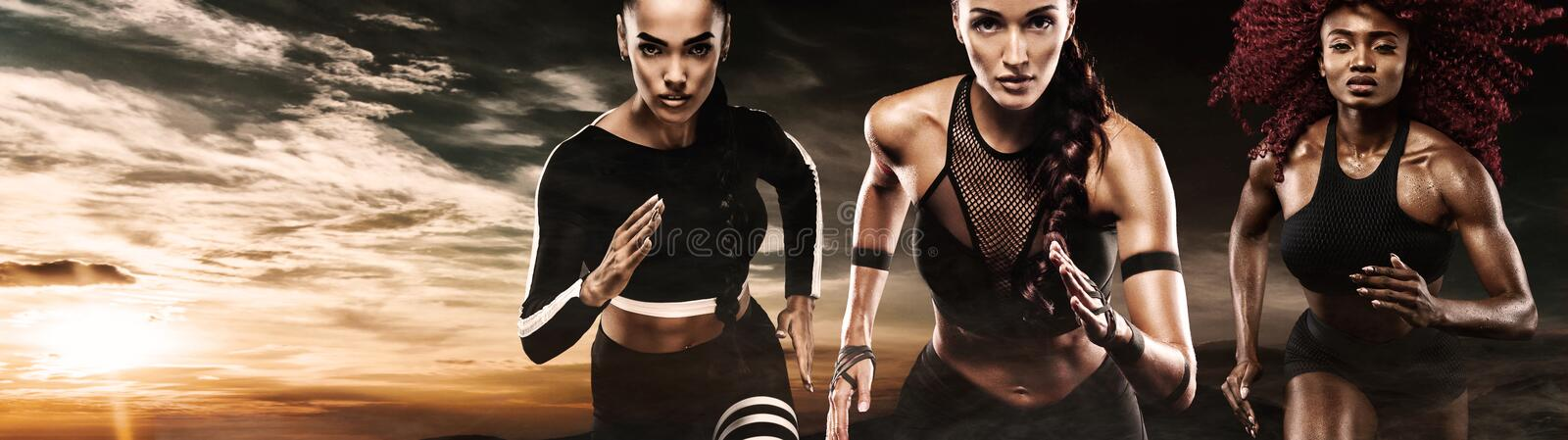 A strong athletic, women sprinter, running outdoor wearing in the sportswear, fitness and sport motivation. Runner royalty free stock photography