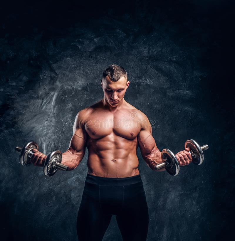 Strong attractive bodybuilder makes exercises with dumbbells royalty free stock photography