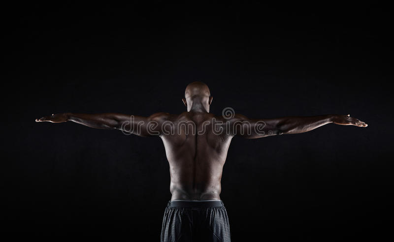 Strong back of a black muscular man royalty free stock images