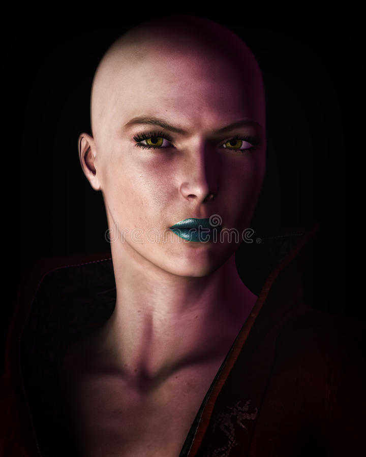Strong Bald Futuristic Sci-Fi Woman Portrait royalty free illustration