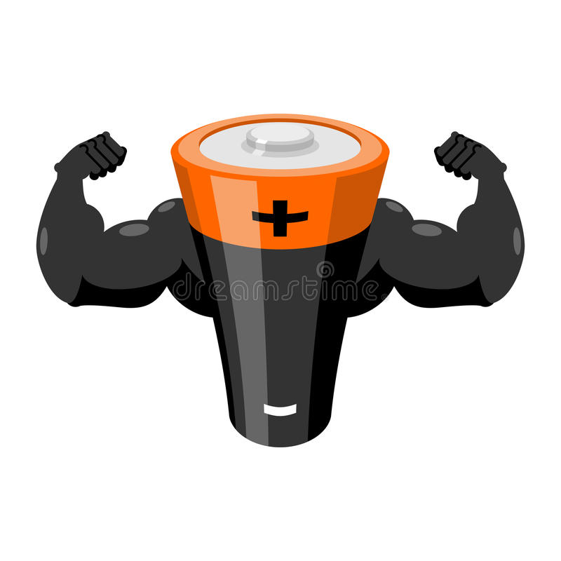Strong battery. Powerful accumulator. Power energy supply. Strong battery. Powerful accumulator. Power energy supply royalty free illustration