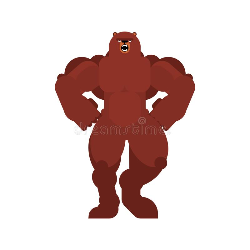 Strong bear. Powerful Grizzly. animal bodybuilder. hard beast.  royalty free illustration