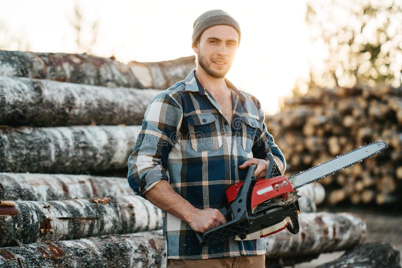 Strong bearded lumberjack wearing plaid shirt hold chainsaw in hand. On background of sawmill royalty free stock images