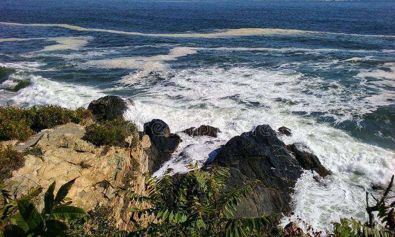 Strong Beautiful Ocean Currents. Strong beautiful ocean waves and currents crashing on rocks with vegetation stock images