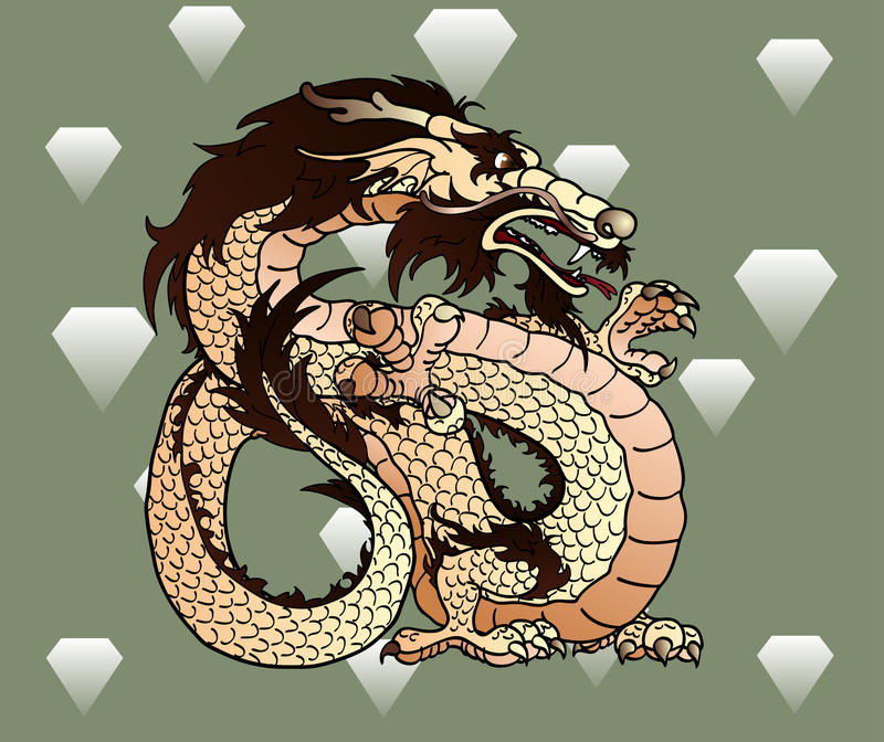 Strong beige earth Asian dragon against diamonds stock illustration