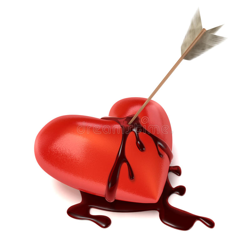 Free Strong Bleeding Heart With Arrow. Royalty Free Stock Photography - 12451247