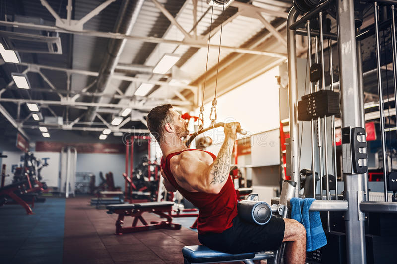Strong Bodybuilder Doing Heavy Weight Exercise For Back On Machine royalty free stock photo