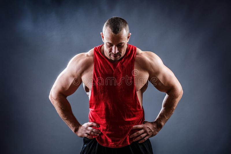 Strong bodybuilder man with perfect abs, shoulders, biceps, tricep royalty free stock photography