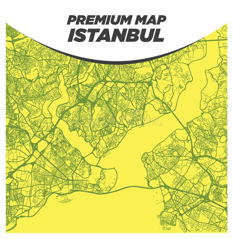 Strong and Bold Yellow Map of Istanbul Turkey royalty free stock photos