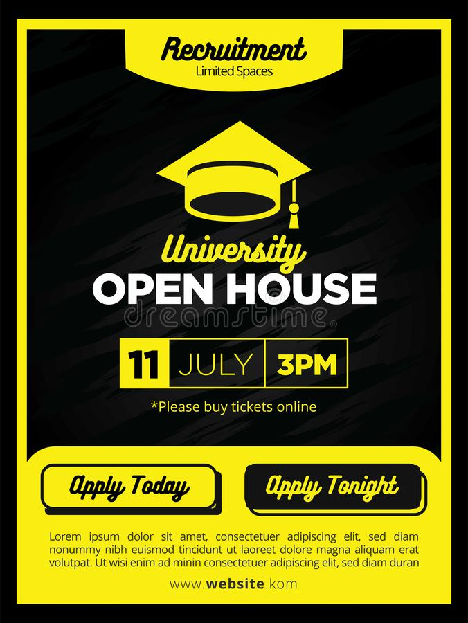Strong and Bold Yellow Real Estate Open House Poster or Flyer Template. For Event or Sale royalty free illustration