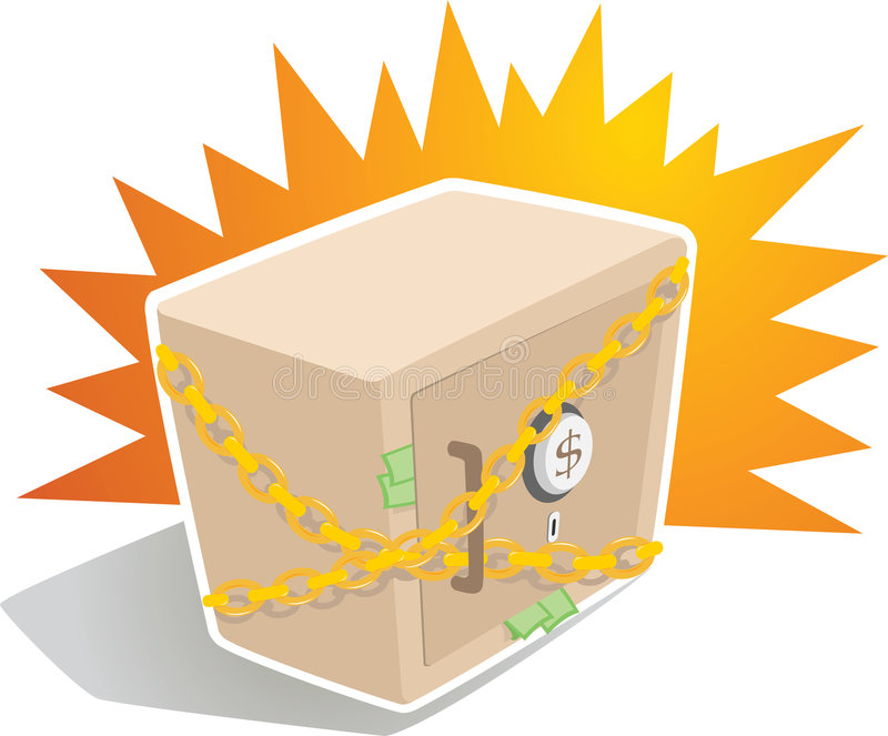 Strong Box with Chain. Illustration of Strong Box with Chain royalty free illustration