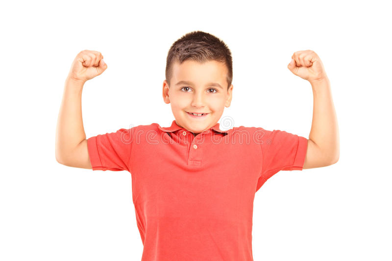 Download Strong boy showing muscles stock image. Image of biceps - 25859523