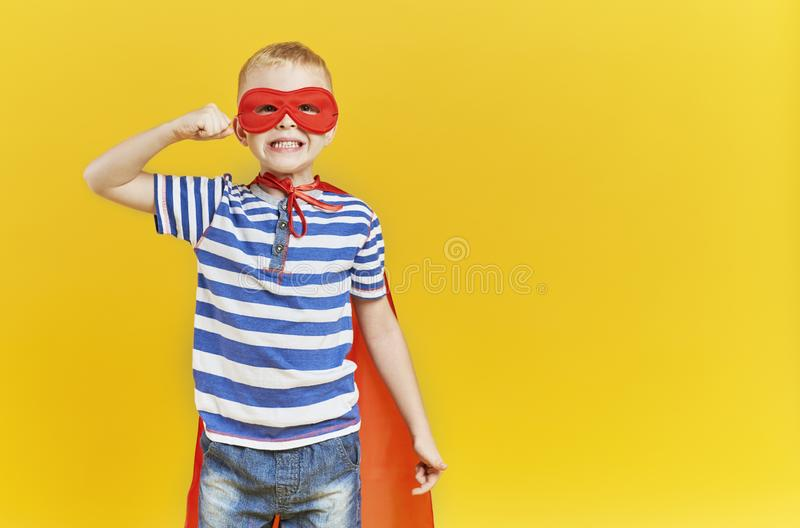 Child in superhero costume royalty free stock photos