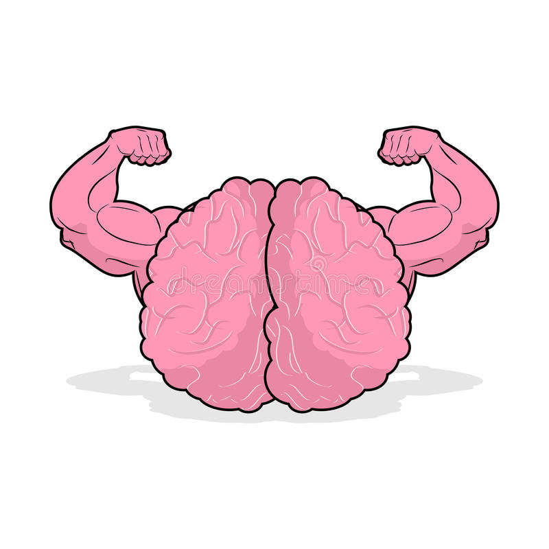 Strong brain athlete. powerful mind of athlete. Big Hands bodybuilding. potent marrow stock illustration