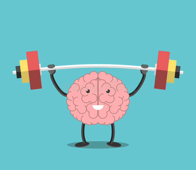 Strong brain with barbell stock illustration