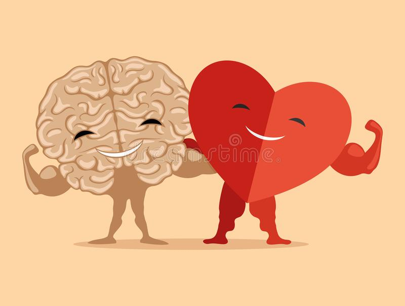 Strong brain and heart. vector illustration
