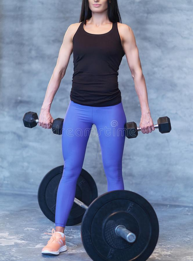 Strong brunette sporty woman in a sportswear doing exercise with dumbbells at a gym. royalty free stock photo