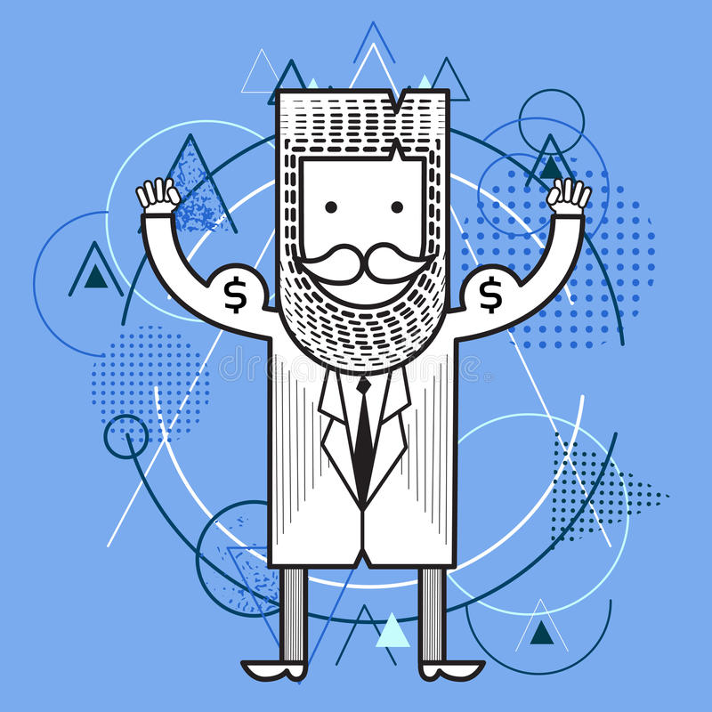 Strong Business Man Hold Money Dollar Sack Finance Success Wealth Concept Over Triangle Geometric Background. Flat Vector Illustration royalty free illustration
