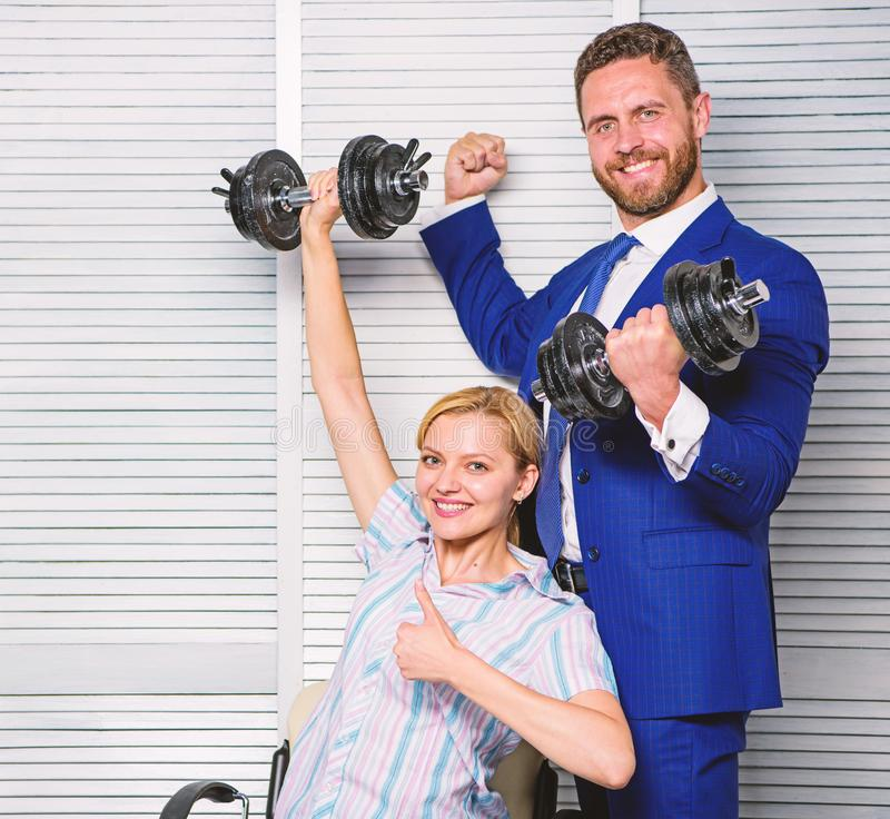 Strong business team. Healthy habits in office. Key to success concept. Strong powerful business strategy. Man and woman. Strong business team. Healthy habits in royalty free stock photography