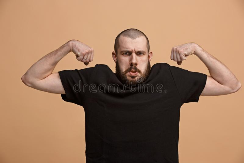 Strong businessman concept. Business man showing muscular hands royalty free stock photos