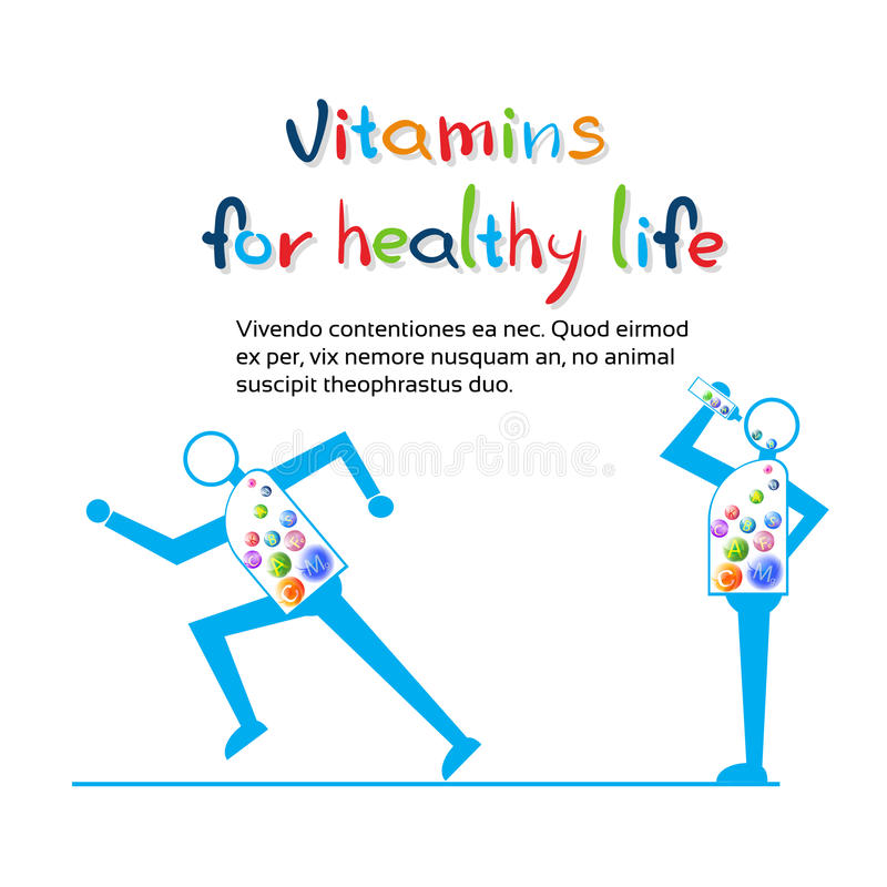 Strong Cartoon Character Run, Eat Vitamins Healthy LIfe Banner With Copy Space vector illustration