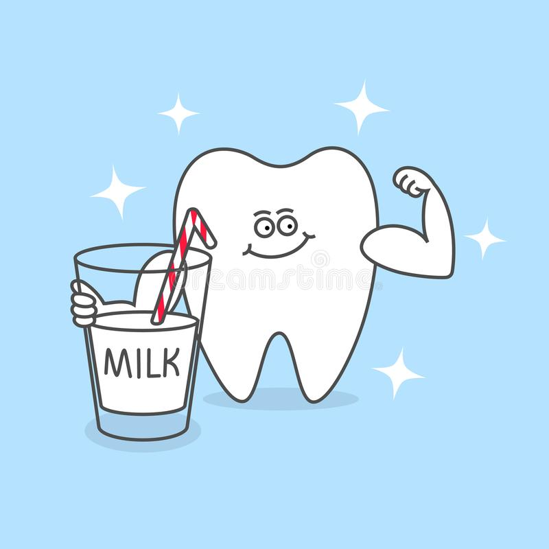 Strong cartoon tooth with a glass of milk and muscles. royalty free stock photos