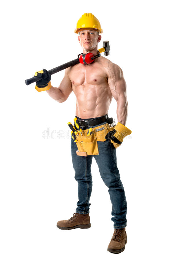Strong construction worker stock photography