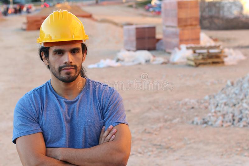 Strong construction worker looking at camera royalty free stock images