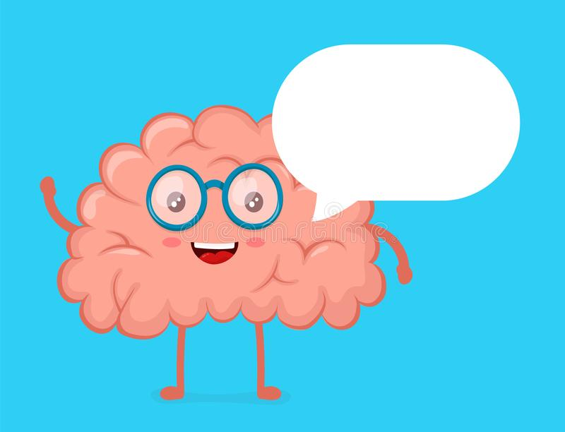 Strong cute healthy happy brain character. Talking dialog bubble speech. Vector flat cartoon illustration icon design. Isolated on blue background. Healthy vector illustration