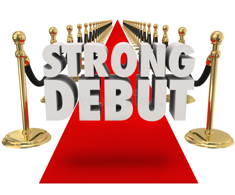 Strong Debut Red Carpet 3D Words Launching New Product Business vector illustration