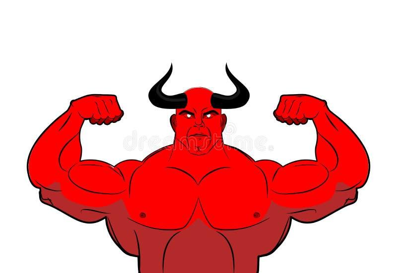 Strong demon with horns. Powerful red devil. Satan bodybuilder stock illustration