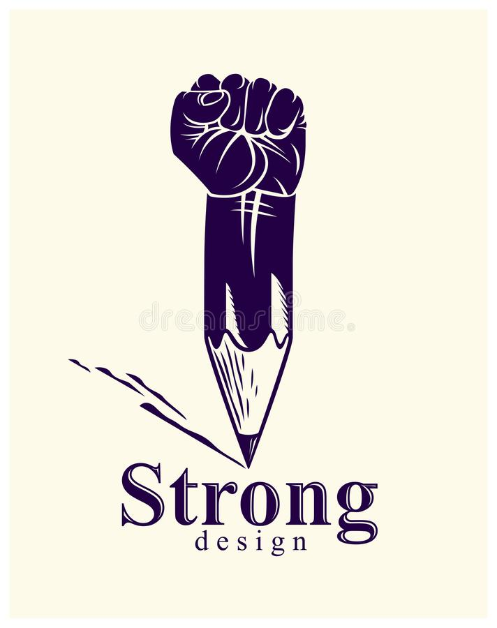 Free Strong Design Or Art Power Concept Shown As A Pencil With Clenched Fist Combined Into Symbol, Vector Logo Or Creative Conceptual Royalty Free Stock Photos - 159559028