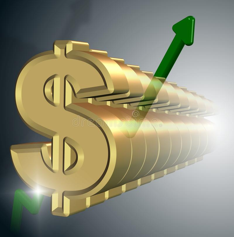 Strong dollar. A row of golden dollar symbols with a green upwards chart royalty free illustration