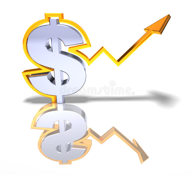 Strong dollar. Booming dollar, strong economy, 3d generated royalty free illustration