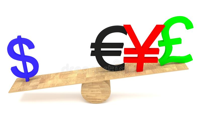 Strong Dollar: currencies on a wooden seesaw. Strong Dollar: currencies on wooden seesaw stock illustration