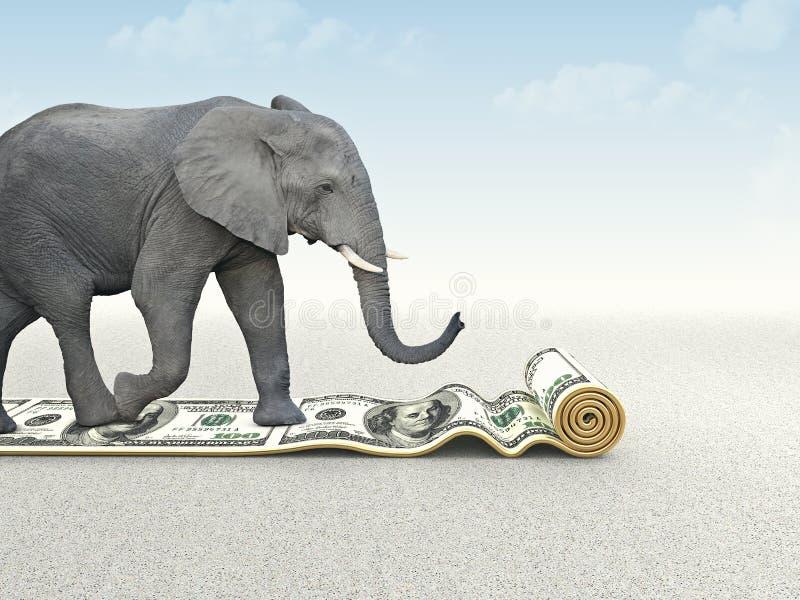 Strong dollar. Elephant walk on dollar carpet stock illustration