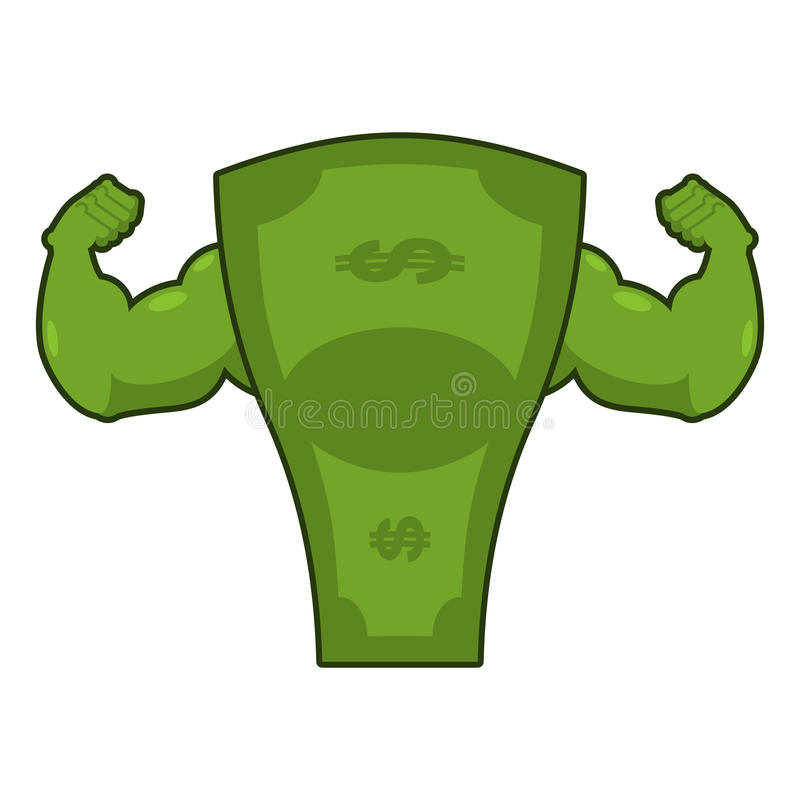 Strong dollar. Powerful cash. Potent money with big muscles. Han. Ds bodybuilding stock illustration