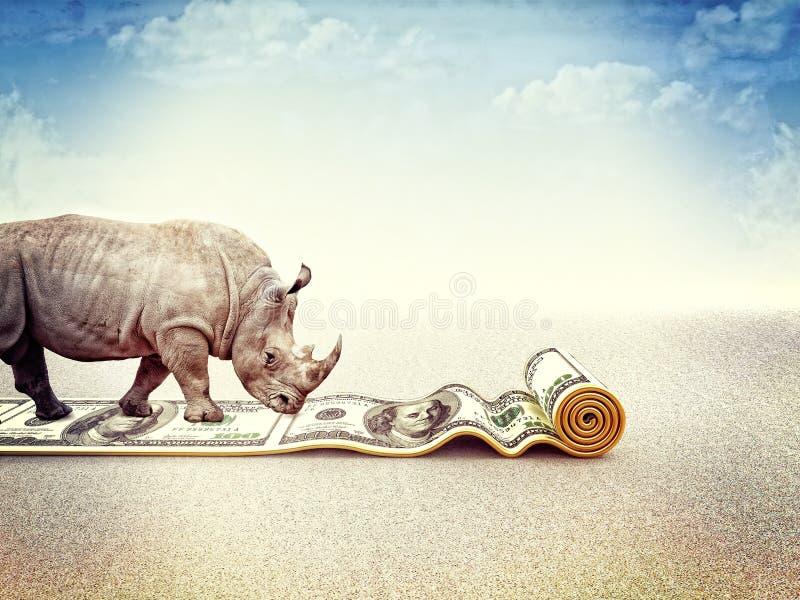 Strong dollar. Walking rhino and dollar carpet 3d royalty free illustration