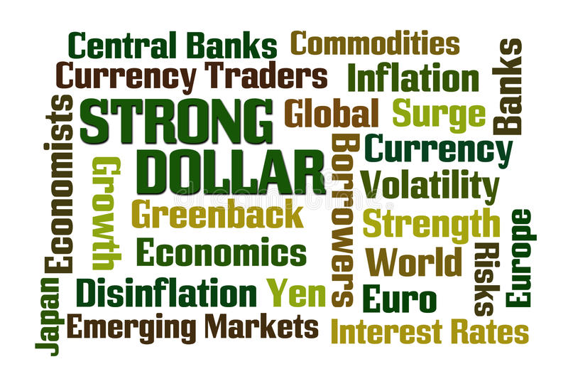 Strong Dollar. Word cloud on white background royalty free illustration